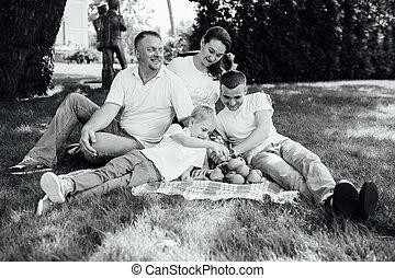 楽しみ, ピクニック, 持つこと, 家族