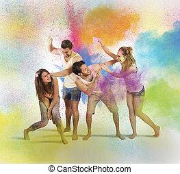 楽しみ, プレーしなさい, 有色人種, 持ちなさい, 粉
