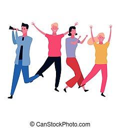 楽しみ, 人々, 持つこと, ダンス