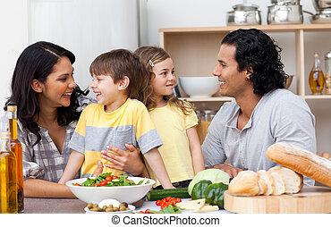 楽しみ, 台所, 持つこと, 家族, うれしい