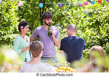 楽しみ, 夏, 持つこと, パーティー, 人々