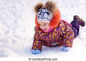 楽しみ, 女の子, 公園, 冬, 持つこと