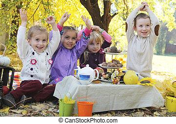 楽しみ, 子供, ピクニック, 持つこと, 秋