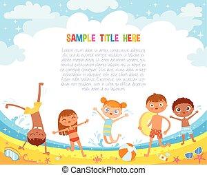 楽しみ, 子供, 浜, 持ちなさい, 跳躍