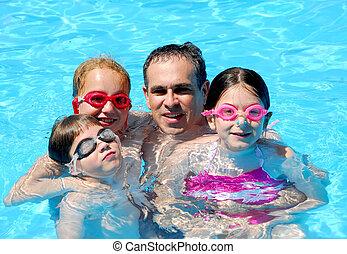楽しみ, 家族, プール