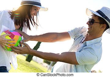 楽しみ, 恋人, 公園, 若い, 持つこと