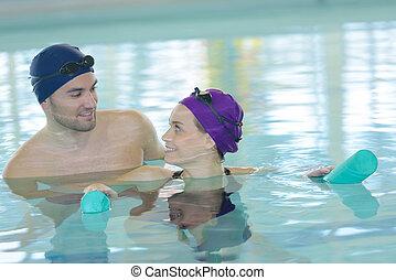 楽しみ, 恋人, 持つこと, プール, 水泳