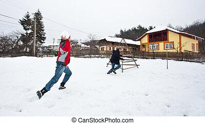 楽しみ, 恋人, 持つこと, 若い, 雪
