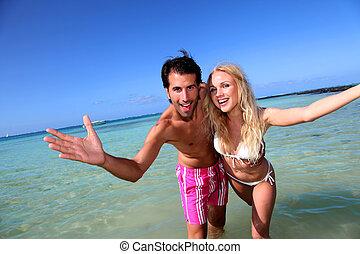 楽しみ, 恋人, 浜, 持つこと