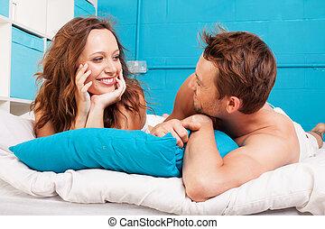 楽しみ, 恋人, 若い, ベッド, 持つこと