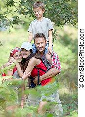 楽しみ, 持つこと, ハイキング, 家族 日