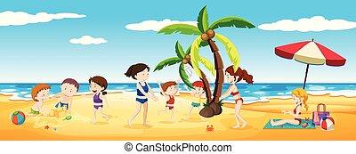 楽しみ, 持つこと, 浜 場面, 人々