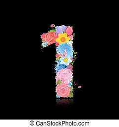 楽しみ, 数, の, 空想, 花, 上に, 黒い背景, 1