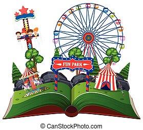 楽しみ, 本, 公園, の上, ポンとはじけなさい