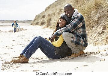 楽しみ, 浜, 冬, 家族, 持つこと