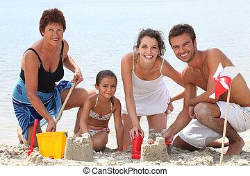 楽しみ, 浜, 持つこと, 家族