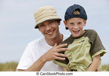 楽しみ, 父, 公園, 持つこと, 息子