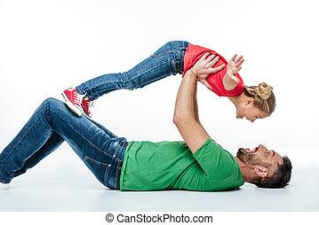楽しみ, 父, 娘, 持つこと, 一緒に