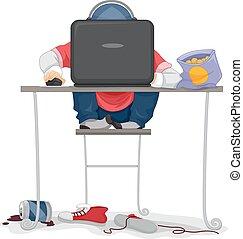楽しみ, 男の子, 子供, コンピュータ