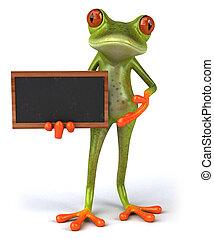 楽しみ, 緑, 3d, トロピカル, カエル, 黒板