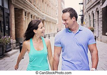楽しみ, 都市, 恋人, 通り, 持つこと