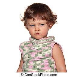 楽しみ, 隔離された, 見る, バックグラウンド。, クローズアップ, 深刻, 赤ん坊, 肖像画, 女の子, 白