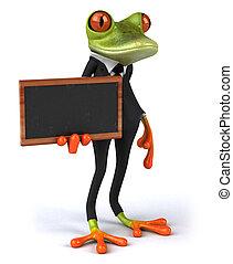 楽しみ, 3d, トロピカル, 黒板, カエル, 緑