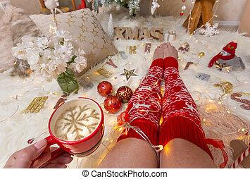 楽しむ, クリスマス, カプチーノ, 時間