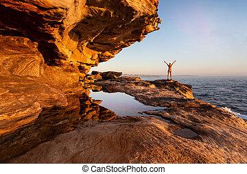 楽しむ, シドニー, 女性, 沿岸である, 光景