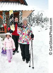 楽しむ, 休日, 家族, スキー