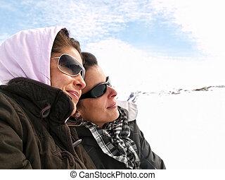 楽しむ, 女の子, 雪, 2