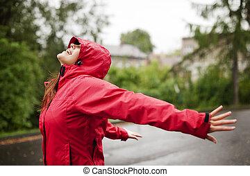 楽しむ, 女性, 雨