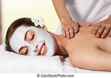 楽しむ, 女, マスク, massage., cly