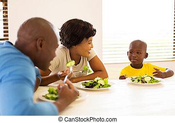 楽しむ, 家族, 一緒に, 健康, アフリカ, 食事