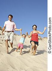 楽しむ, 家族, 砂丘, 下方に, 動くこと, 休日, 浜