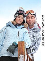 楽しむ, 恋人, 休日, スキー