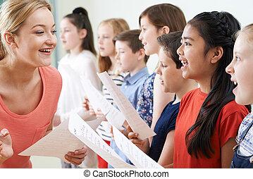 楽しむ, 教師, グループ, 歌うこと, 子供