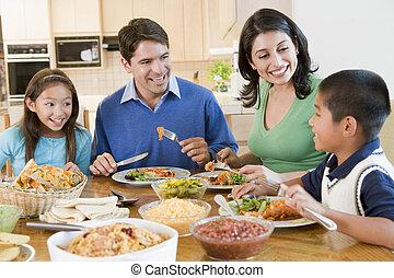 楽しむ, 食事, 家族, 一緒に