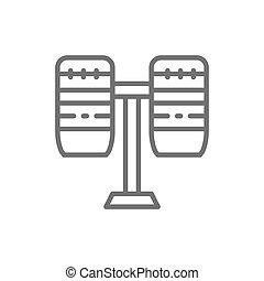 楽器, ドラム, 打楽器, ブラジル人, icon., 線