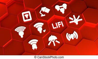 概念アイコン, タワー, lifi, 六角形, 赤