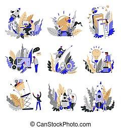 概念アイコン, 抽象的, 始動, 隔離された, 考え, プロジェクト