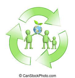 概念性的形象, -, 保护, 在中, 一, 环境