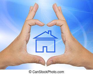 概念性, 家, 符号, 做, 在以前, 手