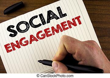 概念性, 手文字, 顯示, 社會, engagement., 事務, 相片, showcasing, 郵寄, 得到, 高, 伸手可及的距離, 喜歡, 廣告, seo, 做廣告, 銷售, 寫, 所作, 人, 上, 筆記本, 書, 上, 木制, 背景, marker.