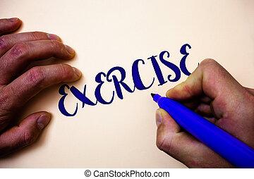 概念性, 手文字, 顯示, exercise., 事務, 相片, showcasing, 活動, 要求, 物理 努力, 帶來, 進, 玩, 訓練, 人, 藏品, 藍色, 記號, 白色 背景, 想法, inspiration.