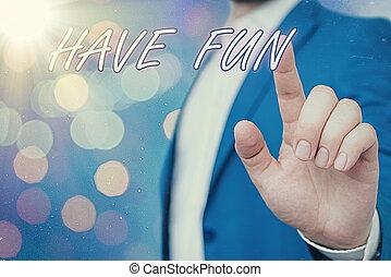 概念性, 显示, 签署, 本身, 享乐, amusement., 正文, fun., 任务, 有, 照片, 提供