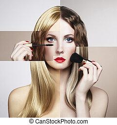 概念性, 時裝, 肖像, ......的, a, 美麗, 年輕婦女