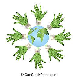 概念性, 符號, ......的, 地球, 由于, 人的手, 大約