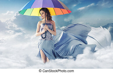概念性, 肖像, ......的, the, 婦女, 在, the, 天空