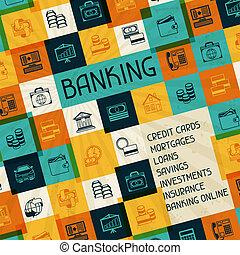 概念性, 銀行業務, 以及, 事務, 背景。
